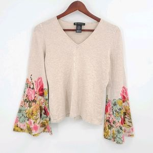 Floral Bell Sleeves Fitted Sweater